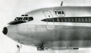 TWA Flight 85 on the runway in Bangor, Maine
