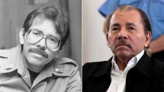 Nicaraguan leader Daniel Ortega in the 1980s and in 2018