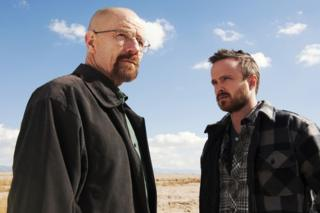 Bryan Cranston as Walter White, left, and Aaron Paul as Jesse Pinkman in Breaking Bad