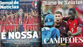 Front pages of Portuguese papers Jornal de Noticias and Diario de Noticias