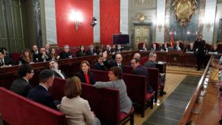 A general view shows the trial of jailed Catalan separatist leaders in Supreme Court in Madrid, Spain, February 12, 2019.