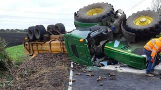 Overturned tractor and trailer