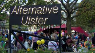A sign at Belfast's Culture Night that reads: Alternative Ulster