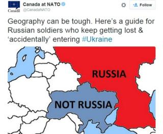 "Screen grab of a tweet showing a map of Russia with Ukraine next to it, captioned ""Not Russia"""