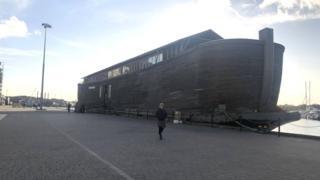 A replica of Noah's Ark is docked in Ipswich .