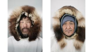 Sigvaun Kaleak and his father Raleigh, wearing traditional ice camouflage parkas