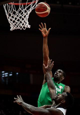 A Nigerian player shoots against South Korea during the FIBA Basketball World Cup China 2019