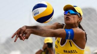 Juliana Felisberta of the Brazil beach volleyball team