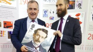Mark Williams with Lloyd George stamp