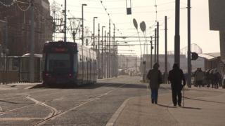 A tram on Blackpool's Prom