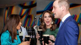 Northern Ireland Duke and Duchess of Cambridge with pints of Guinness on first day of Irish visit