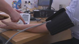 Blood pressure is measured