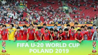 시상식 후 기념사진 촬영한 한국 대표팀