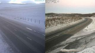 Snow on A96 at Foudland and A95 at Ballindalloch