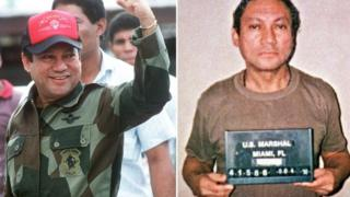 General Manuel Noriega in October 1989 in Panama (L) as well as also in January 1990 in Miami