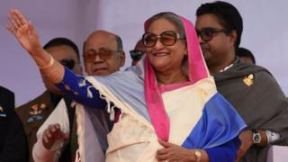 Bangladesh's Prime Minister Sheikh Hasina at campaign rally in Dhaka, 24 December 2018