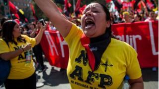 Manifestantes contra las AFP en Chile.