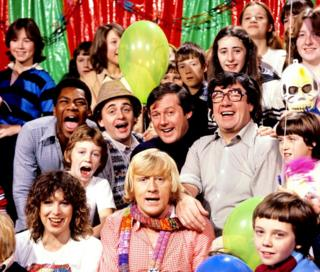 Lenny Henry, Sylvester McCoy, Peter Tomlinson, Frank Carson, Sally James, Chris Tarrant and John Gorman on TISWAS TV show in 1978