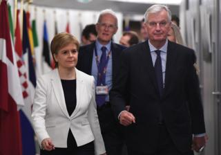 "Scotland""s First Minister Nicola Sturgeon arrives for a meeting with European Union""s chief Brexit negotiator Michel Barnier"