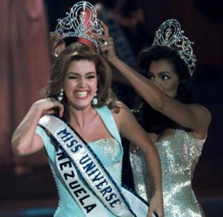 New Miss Universe Alicia Machado of Venezuela reacts as she is crowned at the Miss Universe competition in Las Vegas on 17 May, 1996