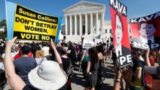 تظاهرات معترضان به کاوانا در مقابل دیوان عالی آمریکا