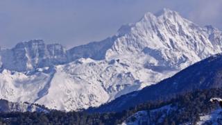 A view of Himalayan range including Trishul , Nanda Devi,Chaukhamba