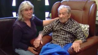 Francisco Marcolino, 101, with his new wife and former maid Rita Monteiro, 52