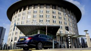 An exterior view of the headquarters of the Organisation for the Prohibition of Chemical Weapons (OPCW) in The Hague