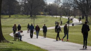 Londoners enjoy sunshine and spring temperatures in Brockwell Park in Herne Hill, 3 April 2020, in south London, England