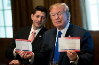 Trump displays the proposed new 'postcard' tax form