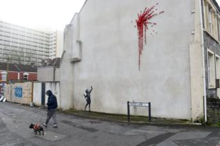 Mural by artist Banksy is pictured in Marsh Lane in Bristol