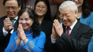 Ông Nguyễn Phú Trọng cùng phu nhân trong sự kiện tiếp đón Nhật hoàng Akihito tại Hà Nội hôm 3/3/2017