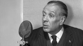 Picture shows Jorge Luis Borges, the well-known Argentine poet and writer, photographed during an interview for the BBC Latin-American Service programme, Letras y Artes in 1963