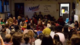 "Students hold a ""sit-in"" at Phi Psi fraternity, Swarthmore College (28 April)"