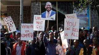 Supporters of Kenyan opposition leader Raila Odinga, from the National Super Alliance (NASA), coalition protest outside the Supreme Court in Nairobi, Kenya August 18, 2017.