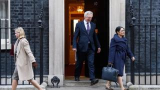 Brexit Secretary David Davis and other Cabinet ministers leaving Downing Street on Tuesday