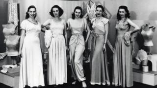 Women posing for a lingerie fashion show in 1947