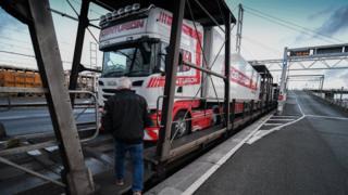 Truck exporting sea food