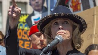 Jane Fonda at a protest in Los Angeles