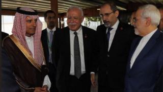 وزرای خارجه ایران و عربستان در استانبول با هم دست دادند