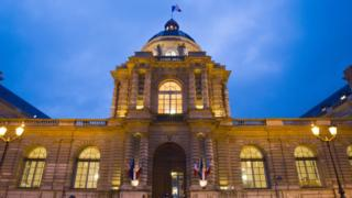 File image of the facade of the French parliamentary room of the Senate