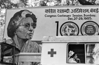 A poster of former Prime Minister Indira Gandhi during the Congress party's centenary celebrations in 1985