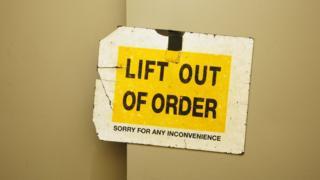 Broken lift sign