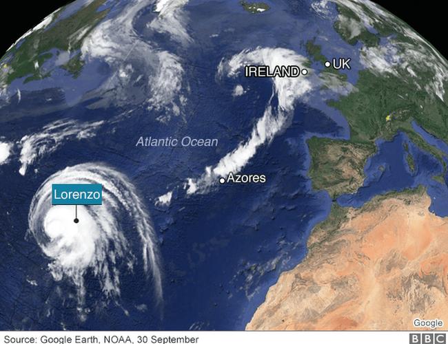 Hurricane Lorenzo's path