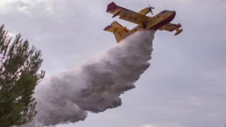هواپیمای کانادایی در حال ریختن مواد مهارکننده آتش در مراتع اطراف لسآنجلس آمریکا