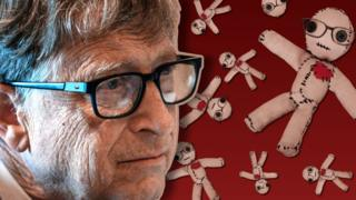 coronavirus vaccine Bill Gates next to images of a voodoo doll