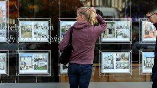A woman looks in an estate agent's window in London