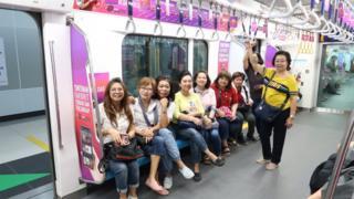Passengers on the Jakarta MRT