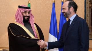 Yerima mai jhiran gado na Saudiyya Mohammed bin Salman ya gana da fira ministan Faransa Edouard Philippe a birnin Paris, 9 Afrilu 2018