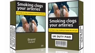 Mocked up cigarette packs